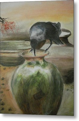A Thirsty Crow Metal Print by Prasenjit Dhar