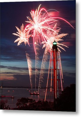 A Three Burst Salvo Of Fire For The Fourth Of July Metal Print by Jeff Folger