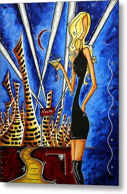 A Toast To The Little Black Dress By Madart Metal Print by Megan Duncanson