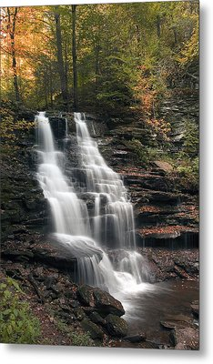 A Touch Of Autumn At Erie Falls Metal Print