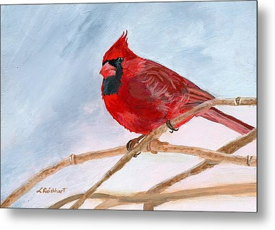 Metal Print featuring the painting A Touch Of Red by Lynne Reichhart