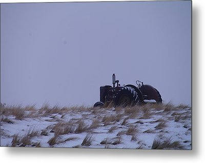 A Tractor Fading To The Snow  Metal Print by Jeff Swan