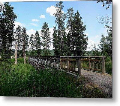 A Trail's Footbridge Metal Print by Lizbeth Bostrom