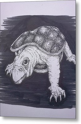 Metal Print featuring the painting A Turtle Named Puppy by Richie Montgomery