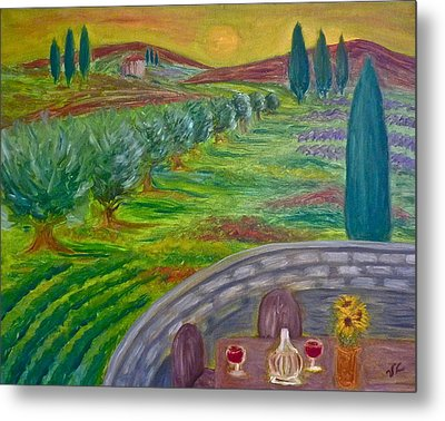 A Tuscan Balcony Metal Print by Victoria Lakes