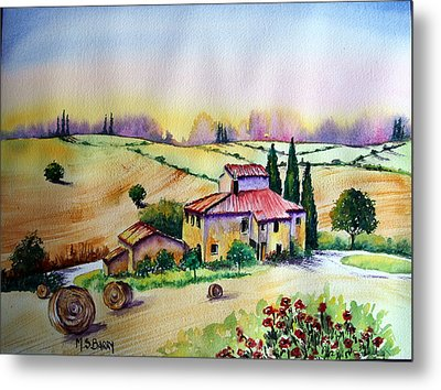 A Tuscann Farmhouse Metal Print by Maria Barry