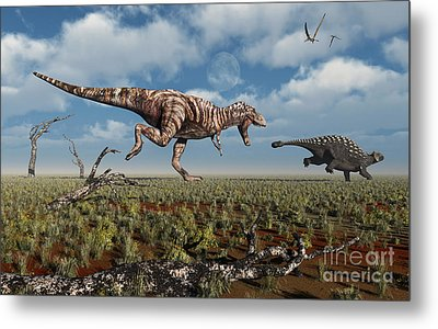 A Tyrannosaurus Rex Giving Chase To An Metal Print by Mark Stevenson