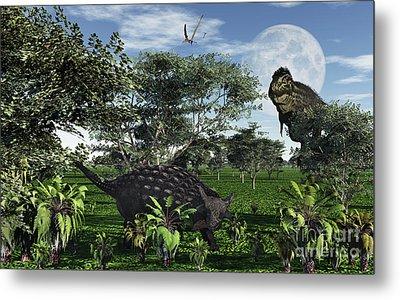A Tyrannosaurus Rex Stalking Metal Print by Mark Stevenson