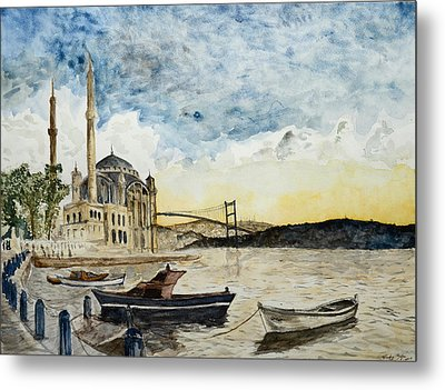 A View Of The Bosphorous Bridge From The Docks Of The Ortakoy Mosque Metal Print