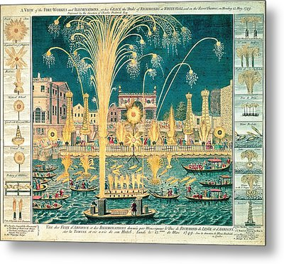 A View Of The Fireworks And Illuminations At His Grace The Duke Of Richmonds At Whitehall Metal Print by English School