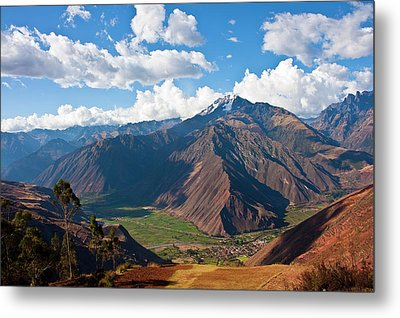 A View Of The Sacred Valley And Andes Metal Print by Miva Stock