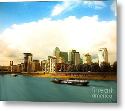 A View Over The River Thames Of Canary Wharf London Docklands England Metal Print by Flow Fitzgerald