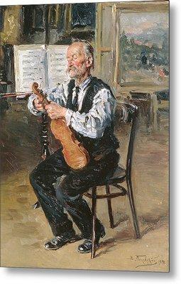 A Violin Maker, 1914 Oil On Panel Metal Print by Vladimir Egorovic Makovsky