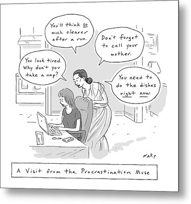 A Visit From The Procrastination Muse -- A Greek Metal Print