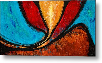 A Visit With Ama - Vibrant Abstract Flower Art By Sharon Cummings Metal Print by Sharon Cummings