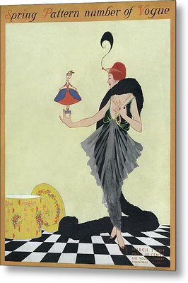 A Vogue Cover Of A Woman Holding A Doll Metal Print