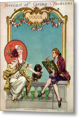 A Vogue Cover Of An 18th Century Couple Metal Print