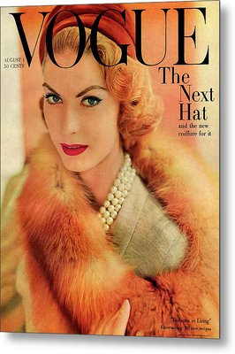 A Vogue Cover Of Mary Mclaughlin Wearing A Fox Metal Print