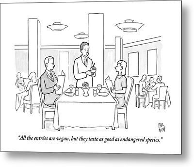 A Waiter Addresses A Couple Who Are Seated Metal Print by Paul Noth