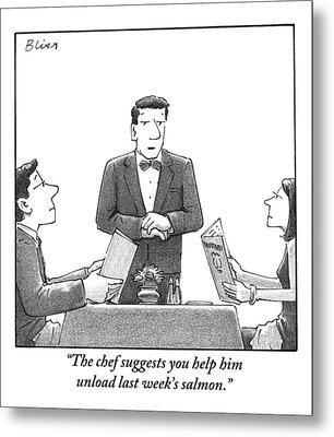 A Waiter Makes A Suggestion To A Man And Woman Metal Print