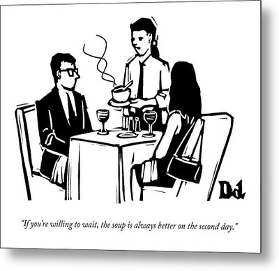 A Waitress Speaks To Customers At A Restaurant Metal Print