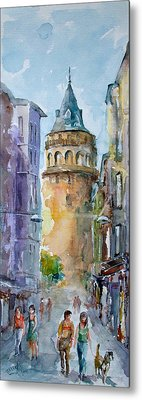 A Walk Around Galata Tower - Istanbul Metal Print by Faruk Koksal