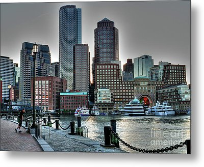 A Walk At The Harbor Metal Print by Adrian LaRoque