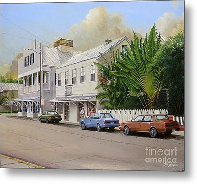 Metal Print featuring the painting A Walk Down Caroline Street by Bob  George