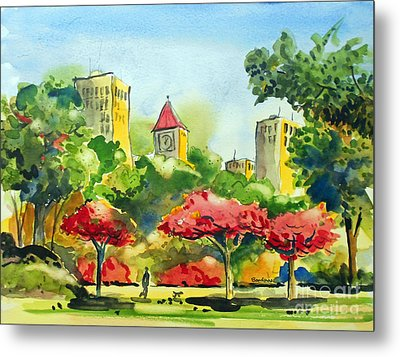 A Walk In City Park Metal Print