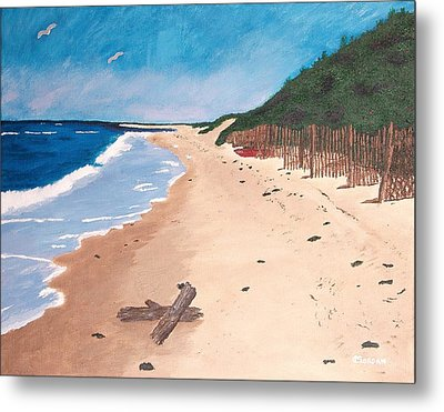 Metal Print featuring the painting A Walk In Nantucket by Cynthia Morgan