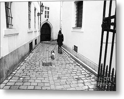 A Walk In Prague Metal Print by John Rizzuto
