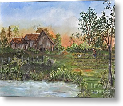 A Walk In The Garden Metal Print by Reb Frost