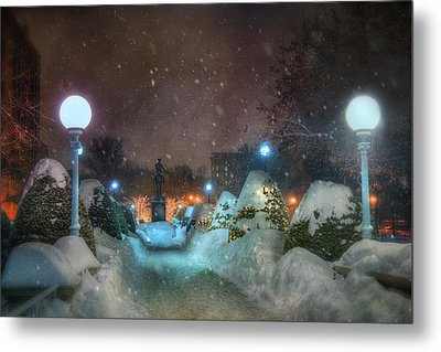 A Walk In The Snow - Boston Public Garden Metal Print by Joann Vitali