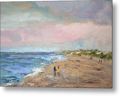 Metal Print featuring the painting A Walk On The Beach by Michael Helfen