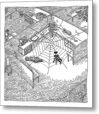 A Web Has Entangled A Man At His Cubicle Metal Print by John O'Brien