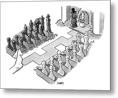 A Wedding In Which The Characters Are All Chess Metal Print by Benjamin Schwartz