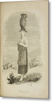 A Welsh Girl With Jug On Her Head Metal Print by British Library
