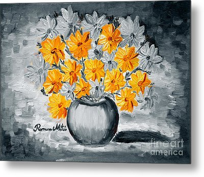 A Whole Bunch Of Daisies Selective Color I Metal Print by Ramona Matei