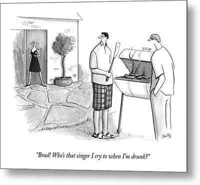 A Wife Asks Her Husband At A Barbecue Metal Print by Julia Suits
