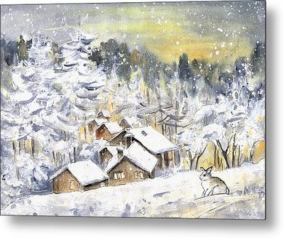 A Wild Rabbit In Snow In Germany Metal Print