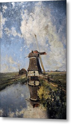 A Windmill On A Polder Waterway, Known As In The Month Of July, C. 1889, By Paul Joseph Constantin Metal Print by Bridgeman Images