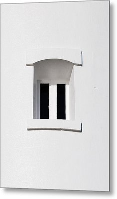 A Window In White Metal Print