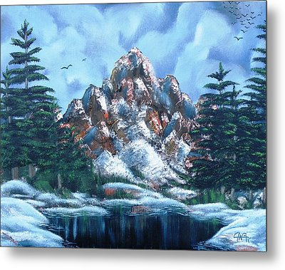 Metal Print featuring the painting A Winter Day On Bald Mountain by The GYPSY And DEBBIE