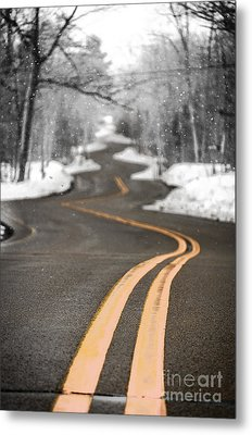Metal Print featuring the photograph A Winter Drive Over A Winding Road by Mark David Zahn