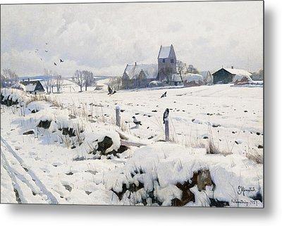 A Winter Landscape Holmstrup Metal Print by Peder Monsted