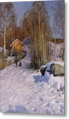 A Winter Landscape With Children Sledging Metal Print by Peder Monsted