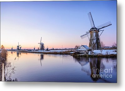 A Cold Winter Morning With Some Windmills In The Netherlands Metal Print