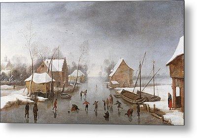 A Winter River Landscape Metal Print