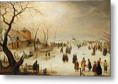 A Winter River Landscape With Figures On The Ice Metal Print