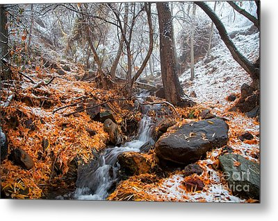 A Winter Scene In Jerome Arizona Metal Print by Ron Chilston